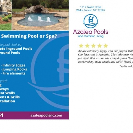 Azalea Pools & Outdoor Living Postcard Design Back