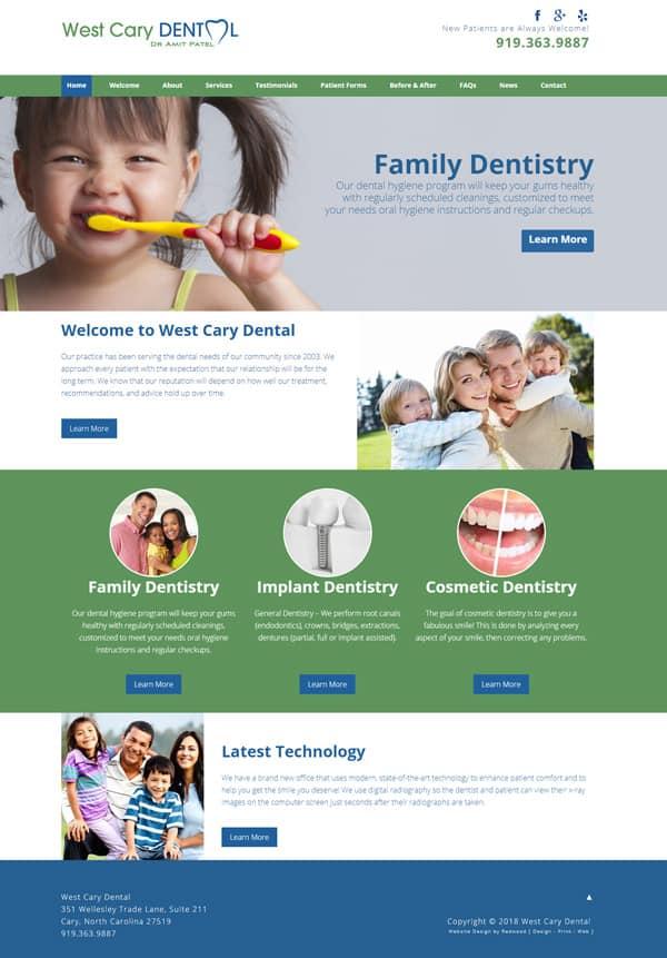 West Cary Dental Practice Website Design & Development