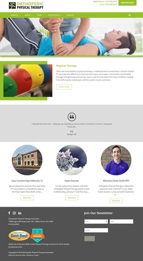 Orthopedic Physical Therapy Associates Website Design & Development