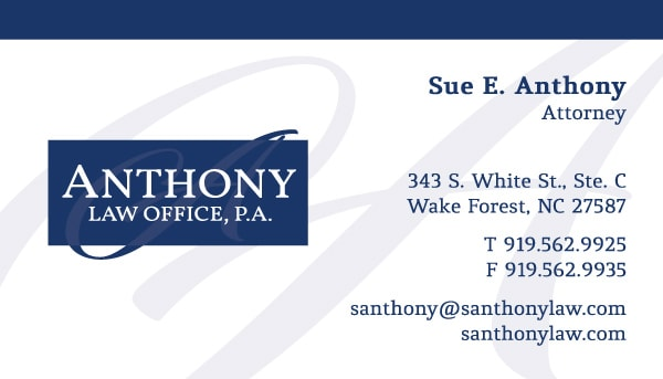 Anthony Law Office Business Cards
