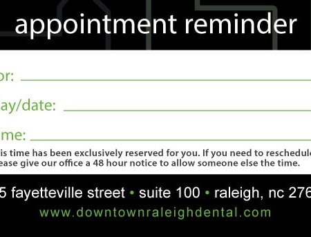 Downtown Dental Appointment Card Back