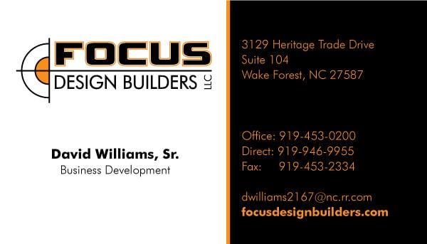 Focus Design Builders general Contractor Business Card Design