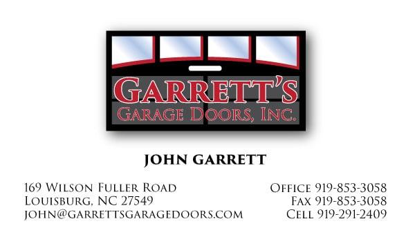 Garrett's Garage Door Business Card Design Front
