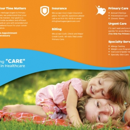 Heritage Urgent & Primary Care Health Care Brochure Design Inside