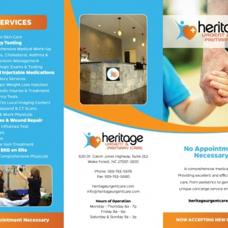 Heritage Urgent & Primary Care Health Care Brochure Design Outside
