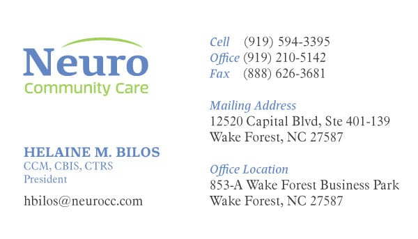 Neuro Community Care Health Care Business Card Design
