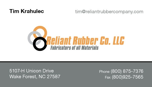 Reliant Rubber Company Manufacturing Business Card Design