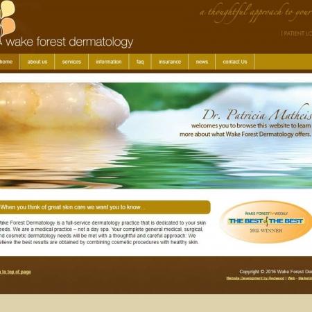 Wake Forest Dermatology Health Care Website Design & Development